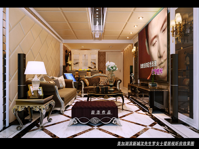 家装案例 > 美加湖滨新城别墅装修设计效果图              挑高的